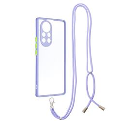 Necklace Cross-body Lanyard Strap Cord Phone Case Cover for Huawei nova 8 Pro - Purple