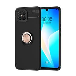 Auto Focus Invisible Ring Holder Soft Phone Case for Huawei nova 8 SE - Black Gold