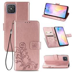 Embossing Imprint Four-Leaf Clover Leather Wallet Case for Huawei nova 8 SE - Rose Gold