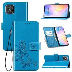 Embossing Imprint Four-Leaf Clover Leather Wallet Case for Huawei nova 8 SE - Blue