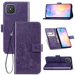 Embossing Imprint Four-Leaf Clover Leather Wallet Case for Huawei nova 8 SE - Purple