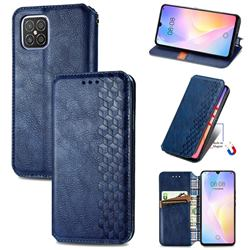 Ultra Slim Fashion Business Card Magnetic Automatic Suction Leather Flip Cover for Huawei nova 8 SE - Dark Blue