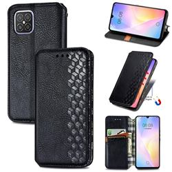 Ultra Slim Fashion Business Card Magnetic Automatic Suction Leather Flip Cover for Huawei nova 8 SE - Black