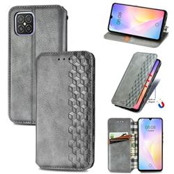 Ultra Slim Fashion Business Card Magnetic Automatic Suction Leather Flip Cover for Huawei nova 8 SE - Grey