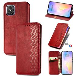 Ultra Slim Fashion Business Card Magnetic Automatic Suction Leather Flip Cover for Huawei nova 8 SE - Red