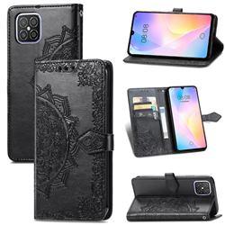 Embossing Imprint Mandala Flower Leather Wallet Case for Huawei nova 8 SE - Black