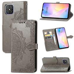 Embossing Imprint Mandala Flower Leather Wallet Case for Huawei nova 8 SE - Gray