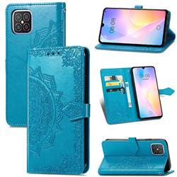 Embossing Imprint Mandala Flower Leather Wallet Case for Huawei nova 8 SE - Blue