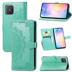 Embossing Imprint Mandala Flower Leather Wallet Case for Huawei nova 8 SE - Green