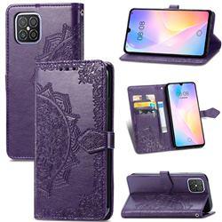 Embossing Imprint Mandala Flower Leather Wallet Case for Huawei nova 8 SE - Purple