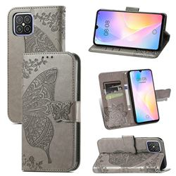 Embossing Mandala Flower Butterfly Leather Wallet Case for Huawei nova 8 SE - Gray