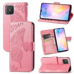 Embossing Mandala Flower Butterfly Leather Wallet Case for Huawei nova 8 SE - Pink