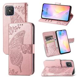 Embossing Mandala Flower Butterfly Leather Wallet Case for Huawei nova 8 SE - Rose Gold