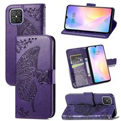 Embossing Mandala Flower Butterfly Leather Wallet Case for Huawei nova 8 SE - Dark Purple