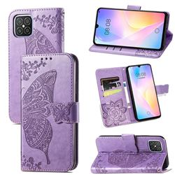 Embossing Mandala Flower Butterfly Leather Wallet Case for Huawei nova 8 SE - Light Purple