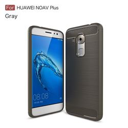 Luxury Carbon Fiber Brushed Wire Drawing Silicone TPU Back Cover for Huawei Nova Plus (Gray)