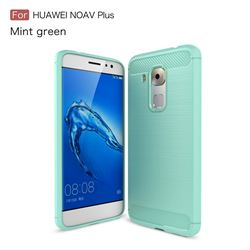 Luxury Carbon Fiber Brushed Wire Drawing Silicone TPU Back Cover for Huawei Nova Plus (Mint Green)
