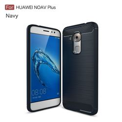 Luxury Carbon Fiber Brushed Wire Drawing Silicone TPU Back Cover for Huawei Nova Plus (Navy)