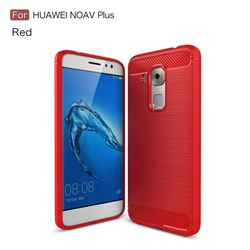 Luxury Carbon Fiber Brushed Wire Drawing Silicone TPU Back Cover for Huawei Nova Plus (Red)