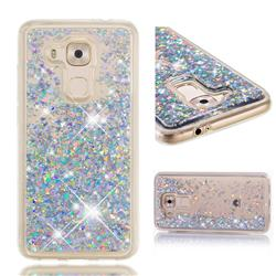 Dynamic Liquid Glitter Quicksand Sequins TPU Phone Case for Huawei Nova Plus - Silver