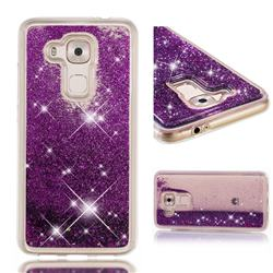 Dynamic Liquid Glitter Quicksand Sequins TPU Phone Case for Huawei Nova Plus - Purple