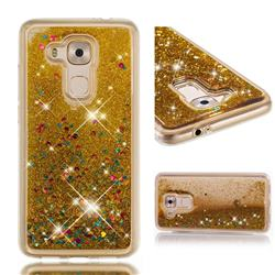 Dynamic Liquid Glitter Quicksand Sequins TPU Phone Case for Huawei Nova Plus - Golden