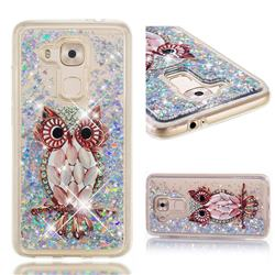 Seashell Owl Dynamic Liquid Glitter Quicksand Soft TPU Case for Huawei Nova Plus