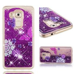 Purple Flower Butterfly Dynamic Liquid Glitter Quicksand Soft TPU Case for Huawei Nova Plus