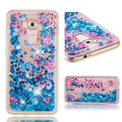 Blue Plum Blossom Dynamic Liquid Glitter Quicksand Soft TPU Case for Huawei Nova Plus