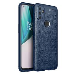 Luxury Auto Focus Litchi Texture Silicone TPU Back Cover for OnePlus Nord N100 - Dark Blue