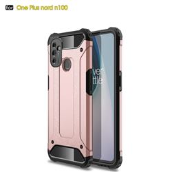 King Kong Armor Premium Shockproof Dual Layer Rugged Hard Cover for OnePlus Nord N100 - Rose Gold