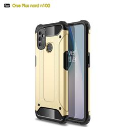 King Kong Armor Premium Shockproof Dual Layer Rugged Hard Cover for OnePlus Nord N100 - Champagne Gold
