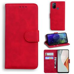 Retro Classic Skin Feel Leather Wallet Phone Case for OnePlus Nord N100 - Red