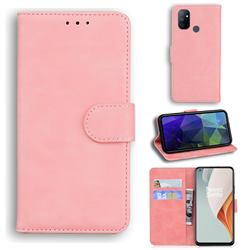 Retro Classic Skin Feel Leather Wallet Phone Case for OnePlus Nord N100 - Pink