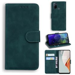 Retro Classic Skin Feel Leather Wallet Phone Case for OnePlus Nord N100 - Green