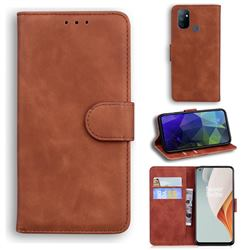 Retro Classic Skin Feel Leather Wallet Phone Case for OnePlus Nord N100 - Brown
