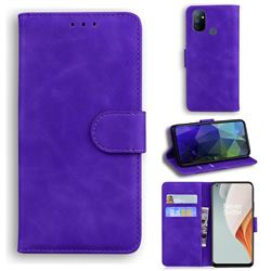 Retro Classic Skin Feel Leather Wallet Phone Case for OnePlus Nord N100 - Purple