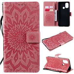 Embossing Sunflower Leather Wallet Case for OnePlus Nord N100 - Pink