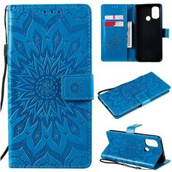Embossing Sunflower Leather Wallet Case for OnePlus Nord N100 - Blue