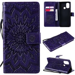Embossing Sunflower Leather Wallet Case for OnePlus Nord N100 - Purple