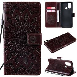 Embossing Sunflower Leather Wallet Case for OnePlus Nord N100 - Brown