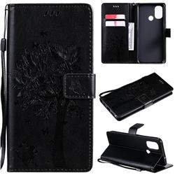 Embossing Butterfly Tree Leather Wallet Case for OnePlus Nord N100 - Black