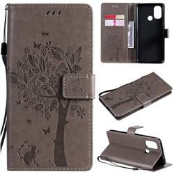 Embossing Butterfly Tree Leather Wallet Case for OnePlus Nord N100 - Grey