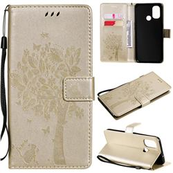 Embossing Butterfly Tree Leather Wallet Case for OnePlus Nord N100 - Champagne