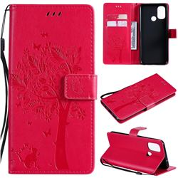 Embossing Butterfly Tree Leather Wallet Case for OnePlus Nord N100 - Rose