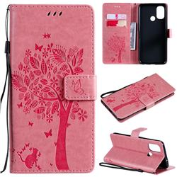 Embossing Butterfly Tree Leather Wallet Case for OnePlus Nord N100 - Pink