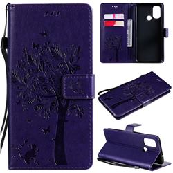 Embossing Butterfly Tree Leather Wallet Case for OnePlus Nord N100 - Purple