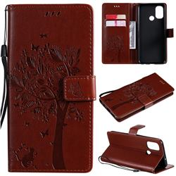 Embossing Butterfly Tree Leather Wallet Case for OnePlus Nord N100 - Coffee