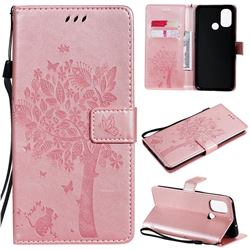 Embossing Butterfly Tree Leather Wallet Case for OnePlus Nord N100 - Rose Pink