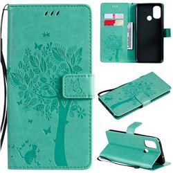 Embossing Butterfly Tree Leather Wallet Case for OnePlus Nord N100 - Cyan